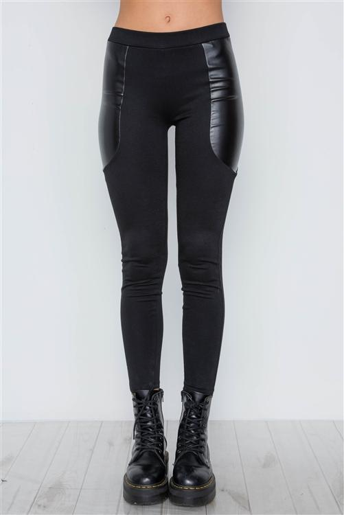 EDGY VIBES LEATHER PANEL ANKLE LEGGINGS (BLACK)