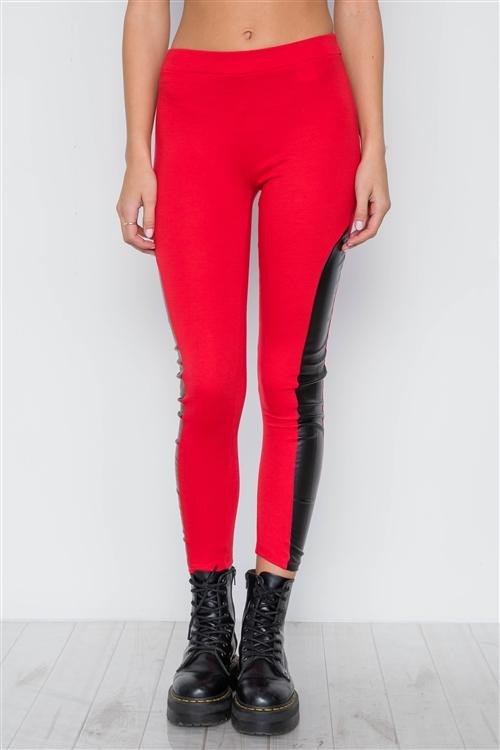 Edgy Vibes Leather Panel Ankle Leggings (Red)