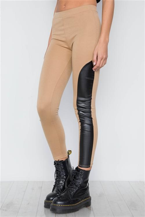EDGY VIBES LEATHER PANEL ANKLE LEGGINGS (TAN)