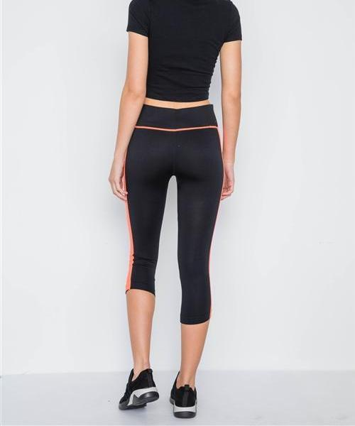GYM VIBES NEON ORANGE CAPRI WORKOUT LEGGINGS