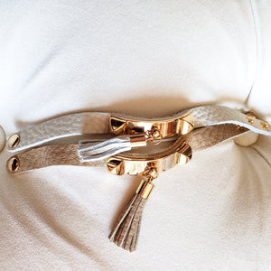 BOHO TASSEL LEATHER BRACELET in TAUPE