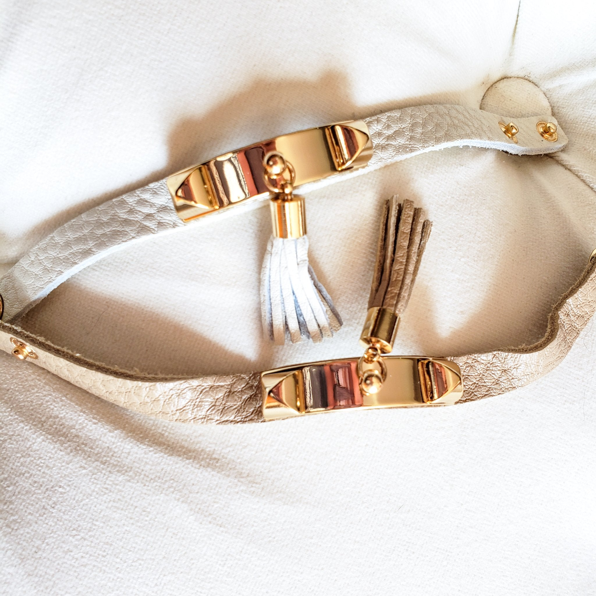 Boho Tassel Leather Bracelet (Beige)