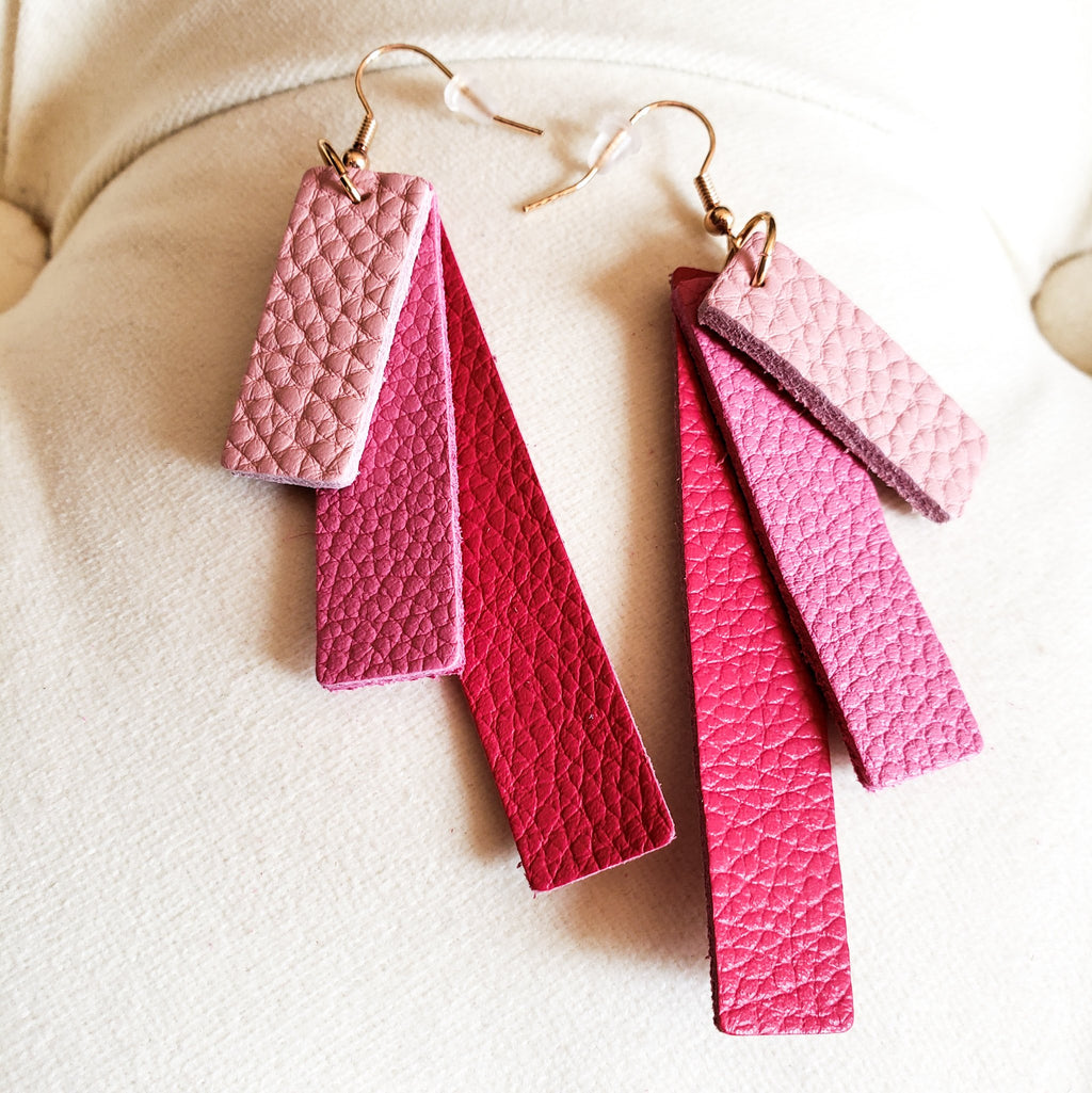 Pink Leather Strip Drop Earrings