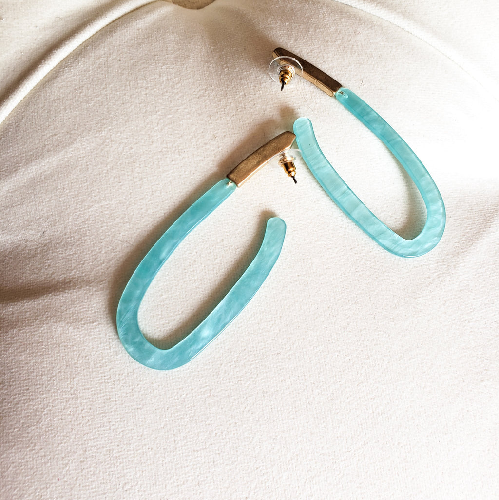 Mint Marble Acetate Cut Out Drop Earrings
