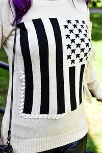 Stars & Stripes American Flag Sweater (Ivory)