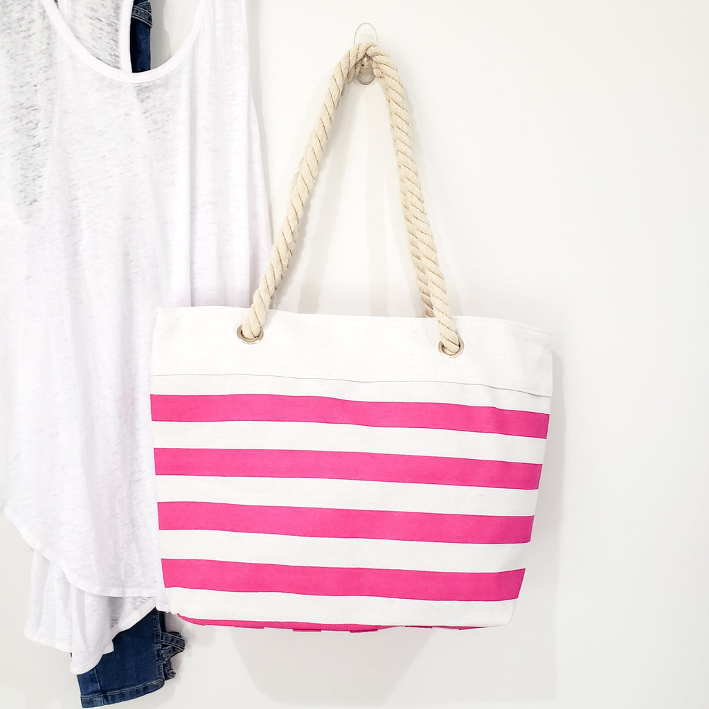 BEACH BUM ROPE & CANVAS STRIPED TOTE (PINK)