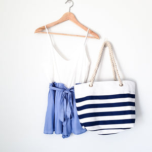 BEACH BUM ROPE & CANVAS STRIPED TOTE (NAVY)