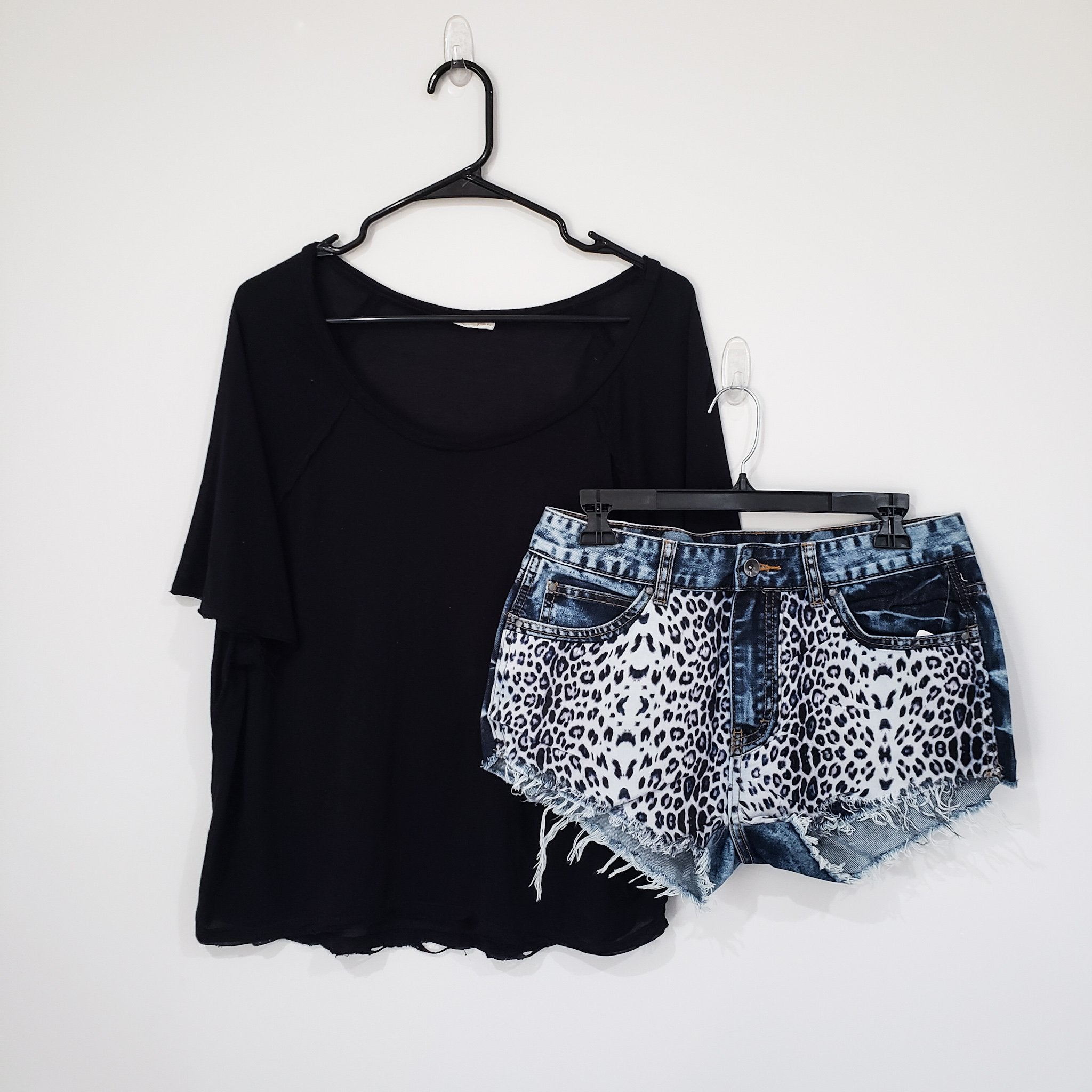 White Leopard Acid Wash Denim Mini Shorts