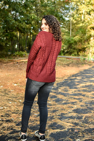 VIKKI CABLE KNIT TIE SWEATER (BURGUNDY)