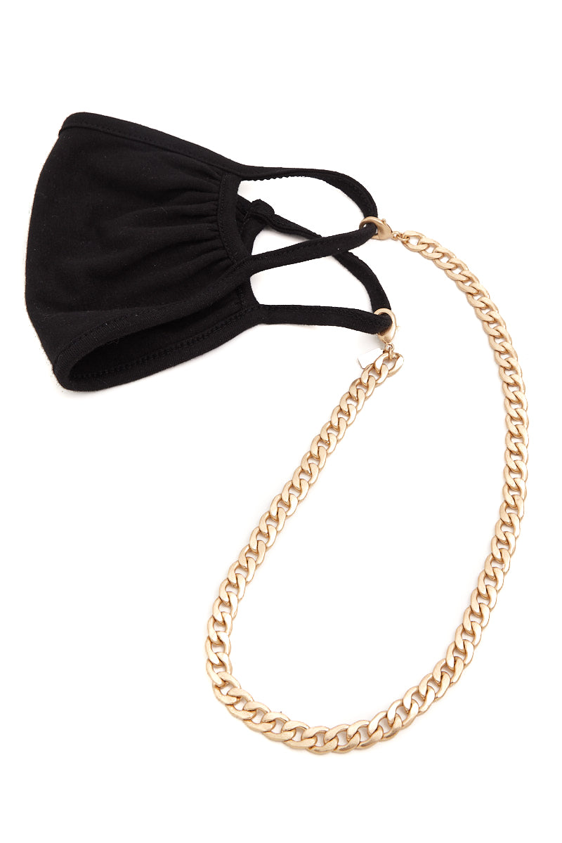 Chunky Mask Necklace Chain (Gold)