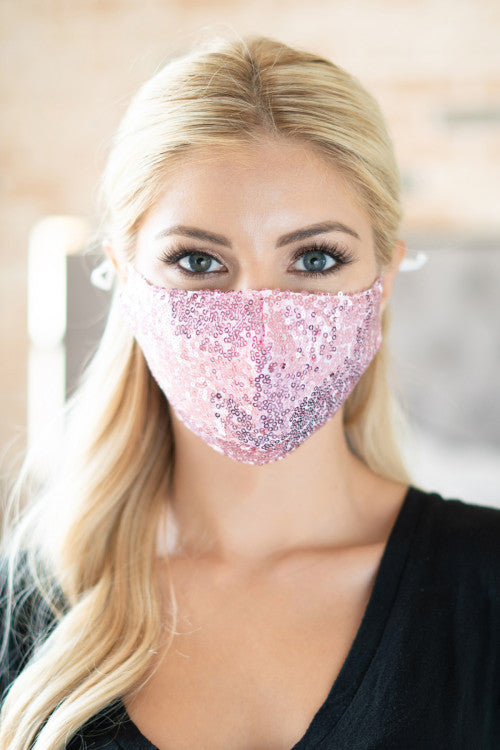 Glamour Sequin Face Mask (Pink)