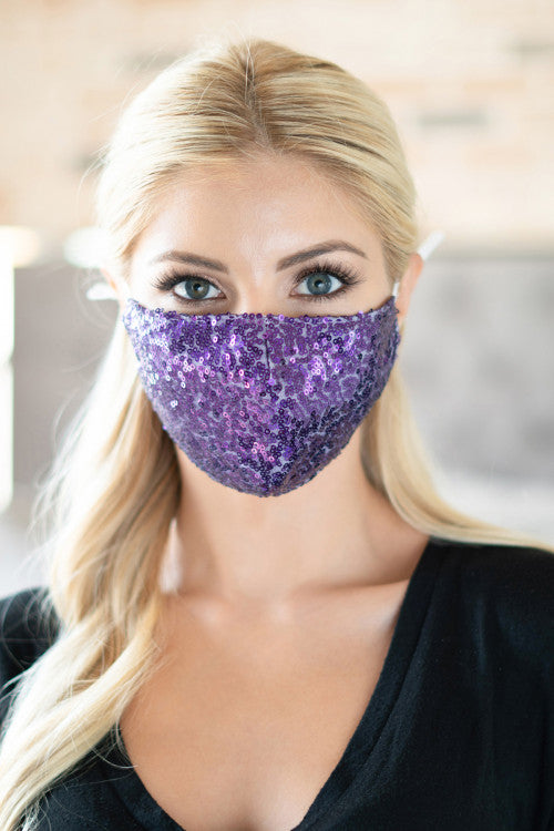 Glamour Sequin Face Mask (Purple)