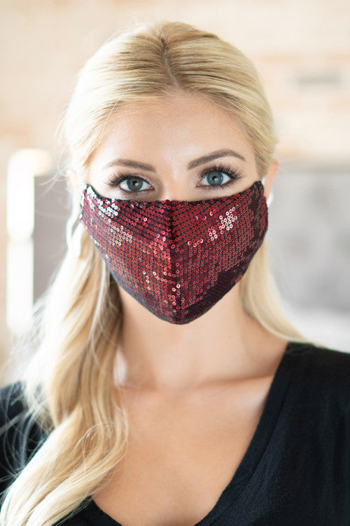 Glamour Sequin Face Mask (Red)