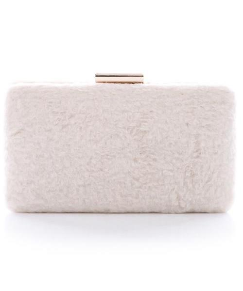 Gwen Fuzzy Rectangle Chain Faux Fur Clutch (Beige)