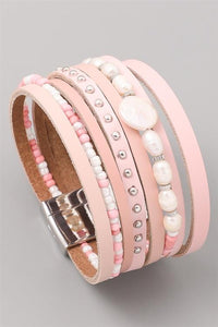 Alexa Pink Beaded Faux Leather Wrap Bracelet