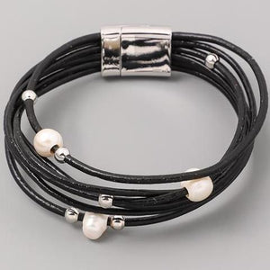 MICHELLE FAUX LEATHER BLACK WRAP BRACELET