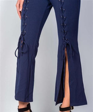 Wide Split Leg Lace-Up Jumpsuit (Navy)