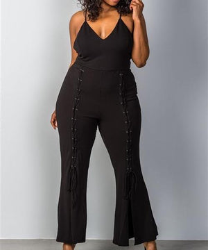 Wide Split Leg Lace-Up Jumpsuit in Black (Plus)
