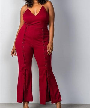 Wide Split Leg Lace-Up Jumpsuit in Red (Plus)