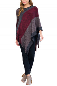 Santa Fe Color Block Sweater Poncho (Red)