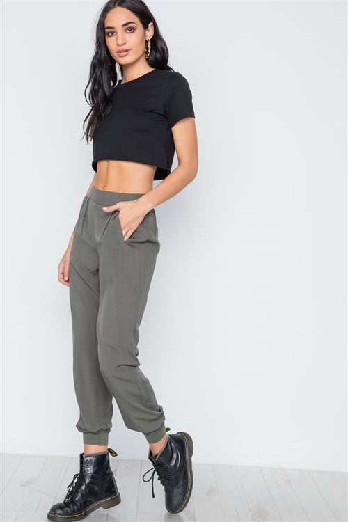 Aussie Olive High Waisted Woven Joggers