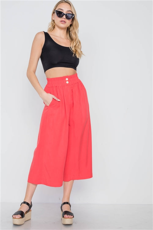 Hamptons High Waist Wide Leg Cropped Pants (Coral)