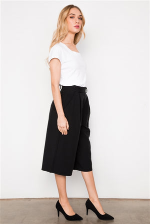 Influential Wide Leg Cropped Trouser Pants (Black)