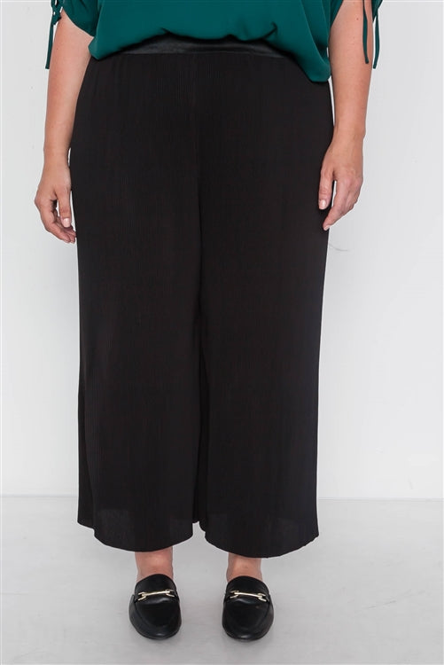 Jasmine Pleated Plus Size Black Crop Palazzo Pants