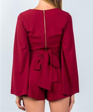 ROXANNE RED TIE LONG SLEEVE ROMPER
