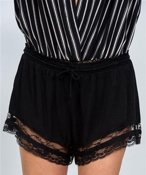 LACE TRIM RELAXED SILK SHORTS