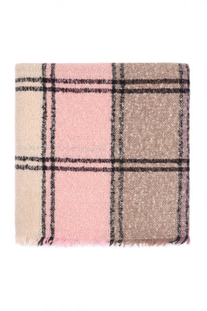 Keeping It Cozy Plaid Blanket Scarf (Mauve)