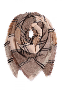Keeping It Cozy Plaid Blanket Scarf (Mocha)