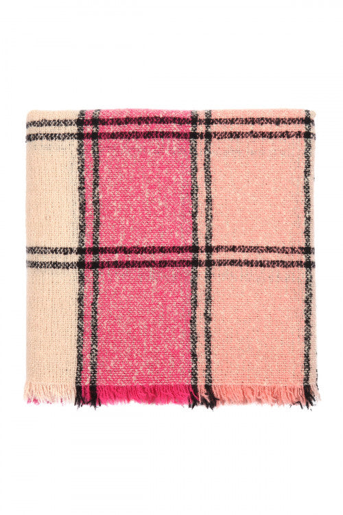 Keeping It Cozy Plaid Blanket Scarf (Pink)