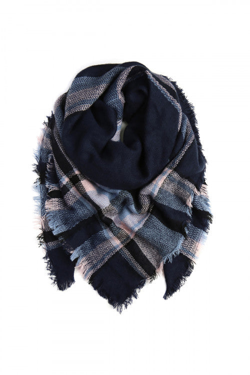 Mountain Babe Plaid Blanket Scarf (Blue)