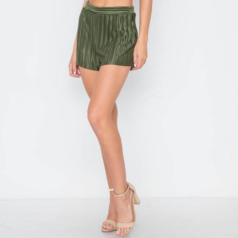 Charmed Satin Pleated Dress Shorts (Olive)