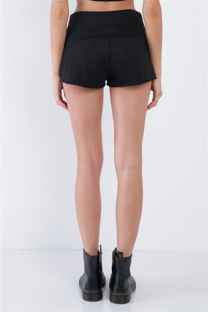 Kyla Lace Up Comfy Lounge Shorts (Black)