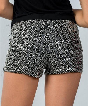 SHE SPARKLES SILVER SEQUIN MINI SHORTS