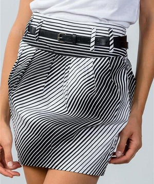 Grayscale Striped Pleated Belted Mini Skirt