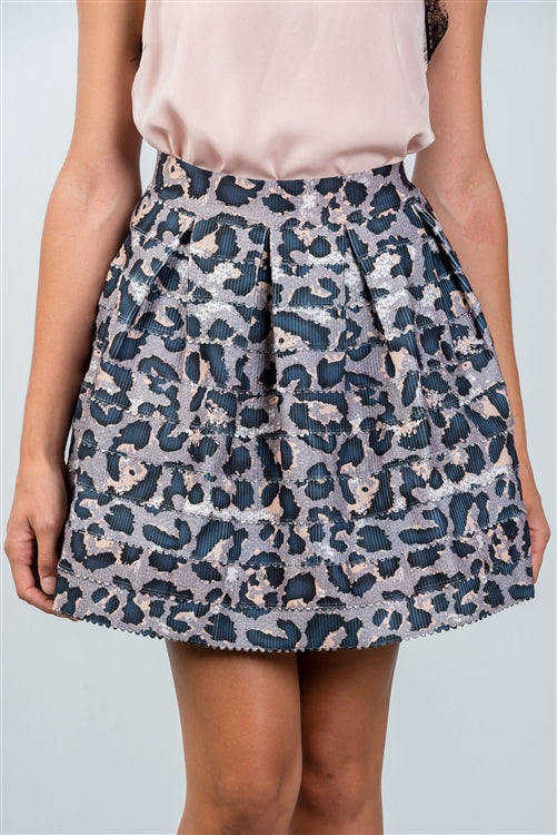 Gray Skies Leopard Print Pleated Skirt