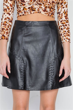 Rebellion High Waist Vegan Leather Skirt (Black)