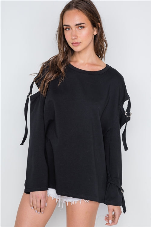 Buckle Up Cut Out Long Sleeve Top (Black)