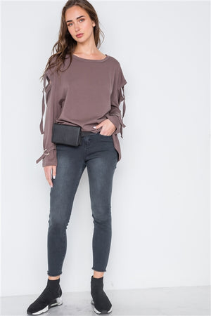 Buckle Up Cut Out Long Sleeve Top (Cocoa Brown)