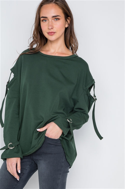 Buckle Up Cut Out Long Sleeve Top (Hunter Green)