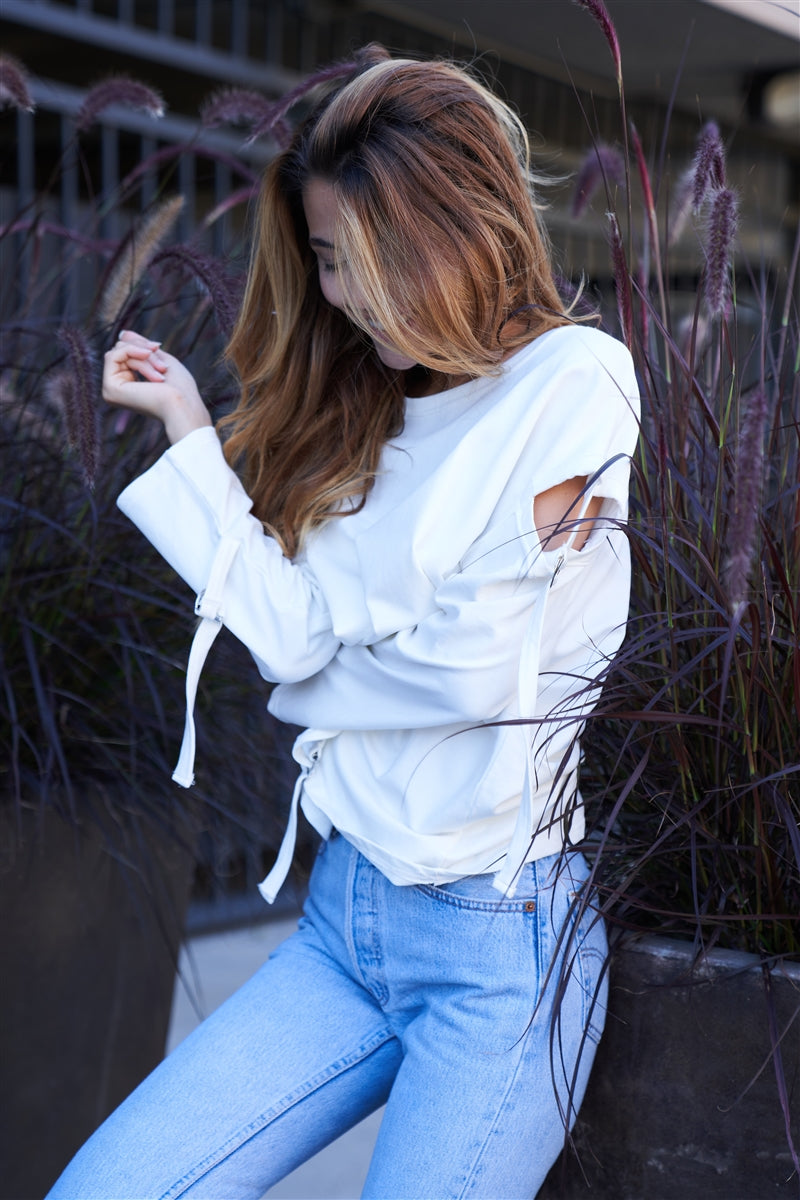Buckle Up Cut Out Long Sleeve Top (White)