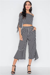 Cruisin' Striped Crop Top & Palazzo Pant Set (White)