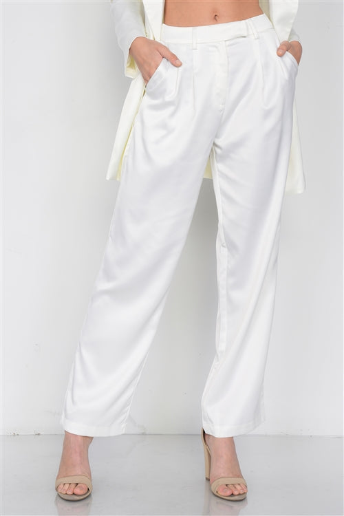 Lady Boss Ivory Silk Blazer & Pant Set