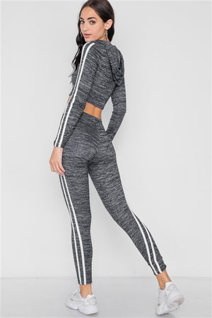 Yoga Life Legging & Crop Hooded Set (Marled Black)