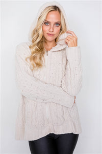 Cassidy Chenille Suede Ivory Zip Hoodie Sweater