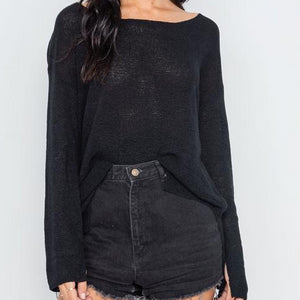 Hollywood Lightweight Knit Sweater (Black)