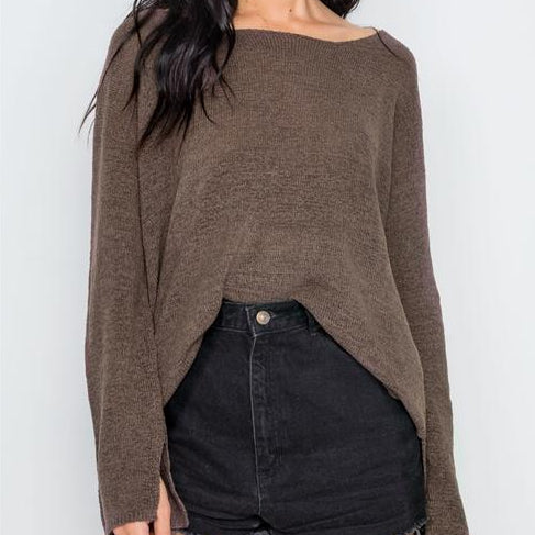 Hollywood Lightweight Knit Sweater (Cocoa)